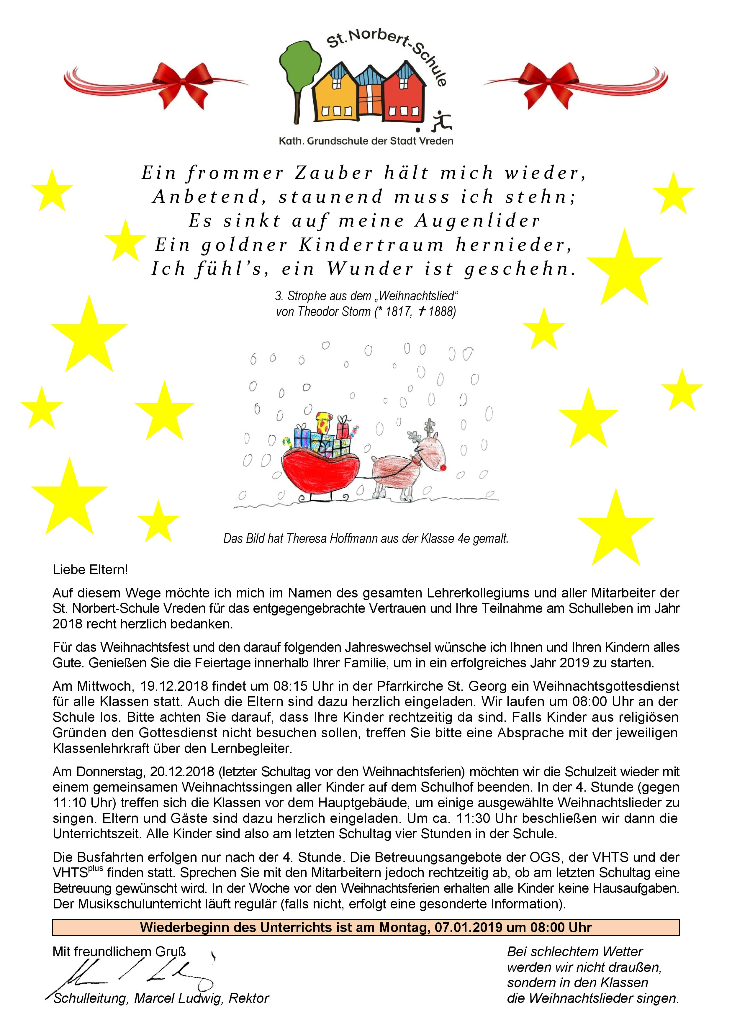 Weihnachtsgrüße An Eltern.St Norbert Schule Katholische Grundschule Der Stadt Vreden